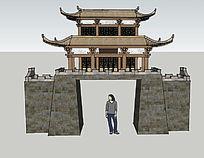 古城楼大门模型su