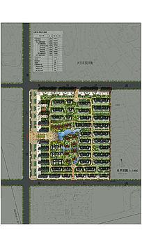 联排居住区景观设计彩色平面图PSD