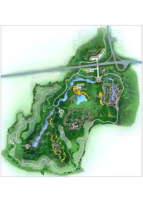 旅游酒店景观规划设计彩色平面psd