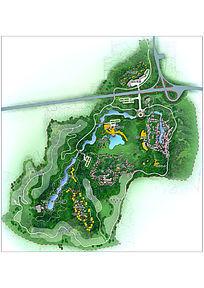 旅游酒店景观规划设计彩色平面PSD PSD
