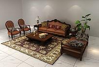 欧式客厅沙发组合3D模型素材下载