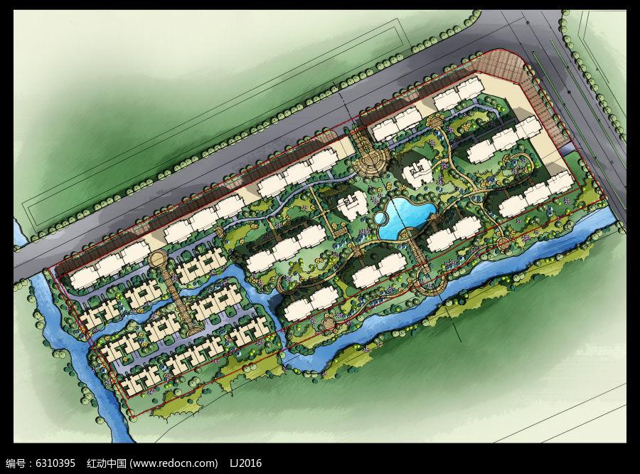 手绘居住区绿化设计彩色平面psd