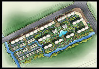 手绘居住区绿化设计彩色平面PSD PSD