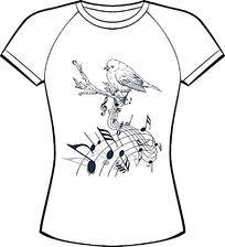 树枝鸟五线谱印花服装设计