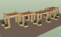 现代特色木质廊架