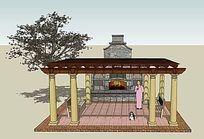 小庭院暖炉廊架