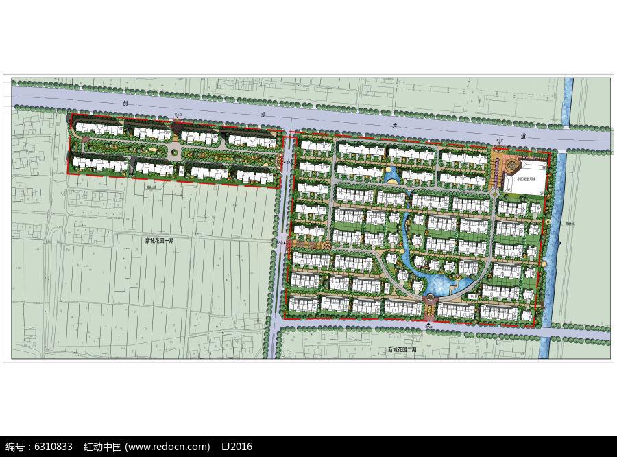 阵列居住区景观设计彩色平面PSD图片