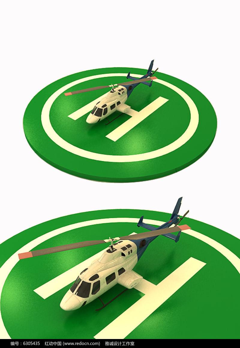 直升飞机3d模型素材图片