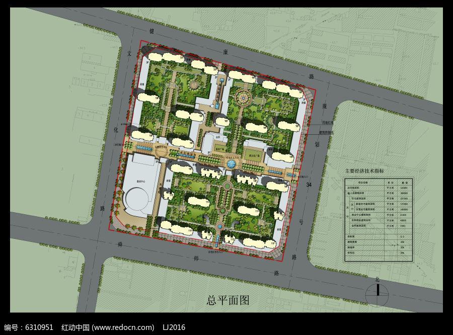 住宅小区经典景观设计PSD彩色平面素材图片