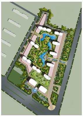 自然生态住宅小区景观彩平图PSD