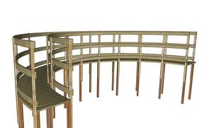 高空弧形木栏杆