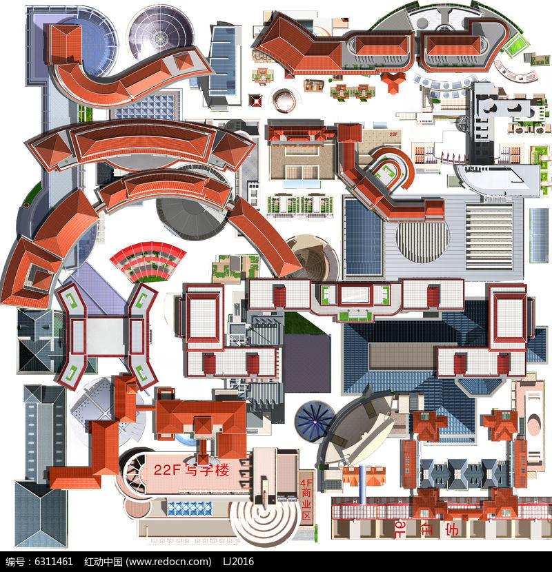 建筑 亭廊平面素材psd