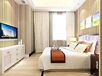 现代风格酒店大床房装修效果模型