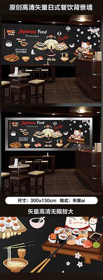 原创高清手绘日式料理店背景墙壁画
