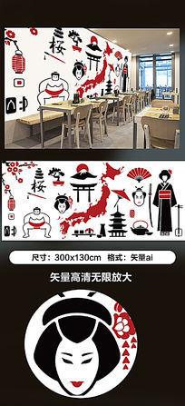 原创高清手绘日式料理店背景墙壁画插画