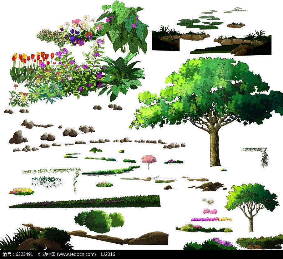 盆栽植物 国画手绘