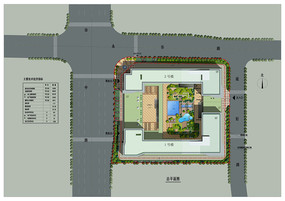 办公大楼院内景观设计PSD