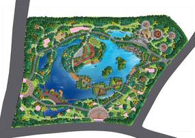 儿童乐园景观设计彩色平面图PSD