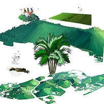 手绘山体森林效果图素材