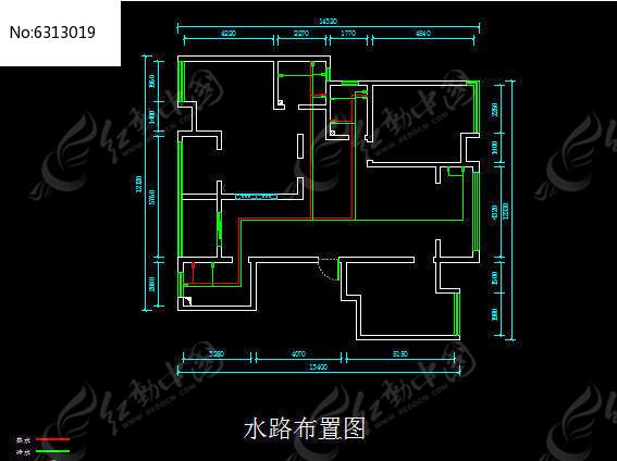 水路布置图cad素材下载_室内装修设计图片
