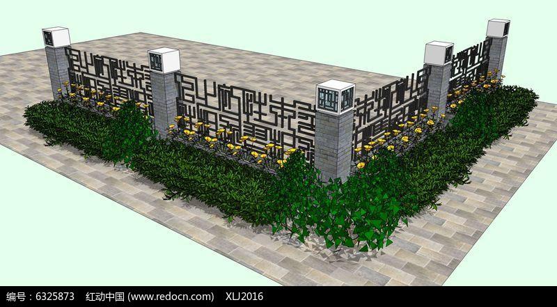 新中式方形花纹围墙