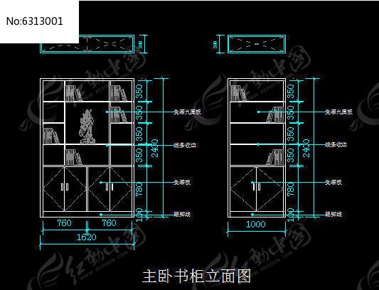 主卧书柜立面图cad素材下载_室内装修设计图片图片