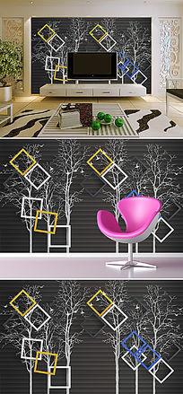 抽象手绘时尚方框3D电视背景墙
