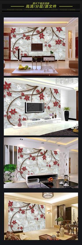 现代简约立体浮雕电视背景墙