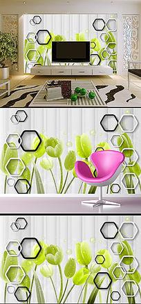 3D方框郁金香电视背景墙