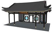 江南园林彩绘玻璃古建亭