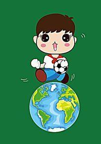 可爱手绘地球上的小男孩