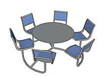 连体金属圆桌座椅组合模型