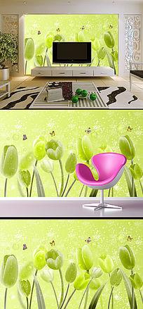 清新郁金香客厅电视沙发背景墙