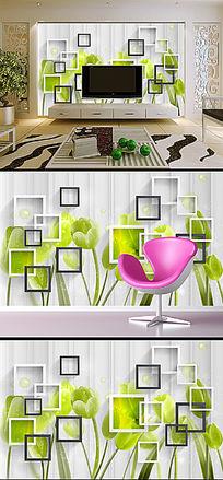 唯美3D方框草绿色郁金香背景墙