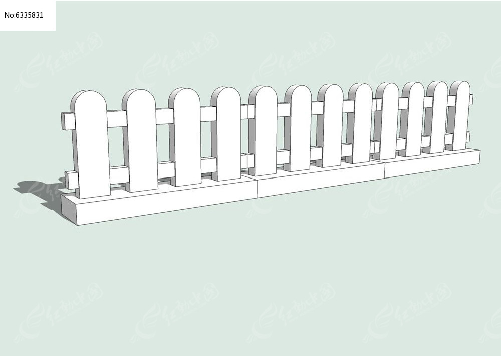 现代简约栅栏skp素材下载_围墙|栏杆|大门设计图片