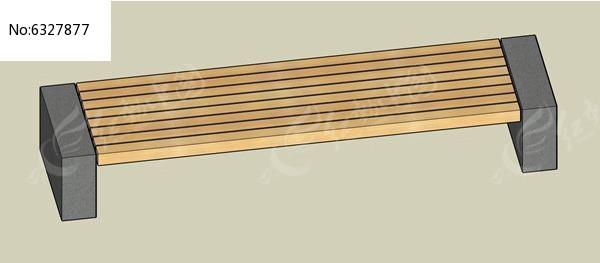 直线型脚木贴面坐凳su模型图片
