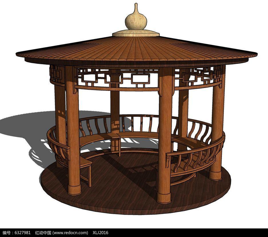 中式古建圆亭图片