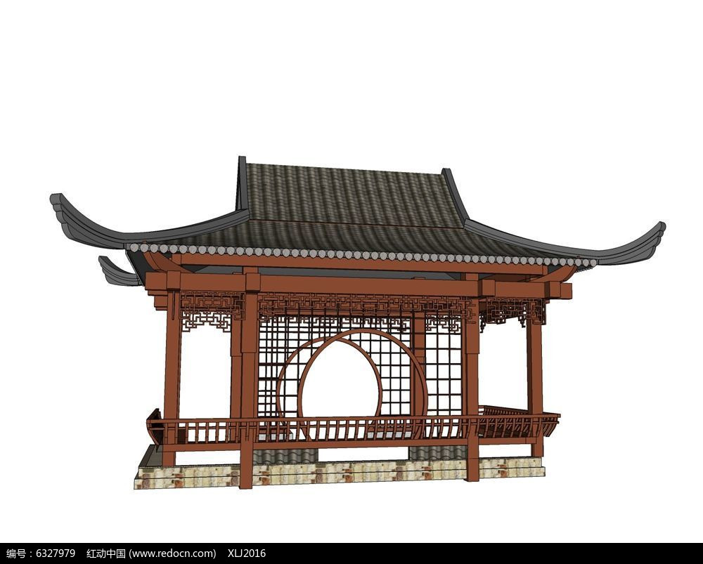 中式筑建筑手绘