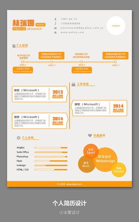 简约风格扁平化橙色活力中文英文简历