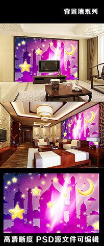 梦幻印度寺庙云朵星空月亮星星电视背景墙