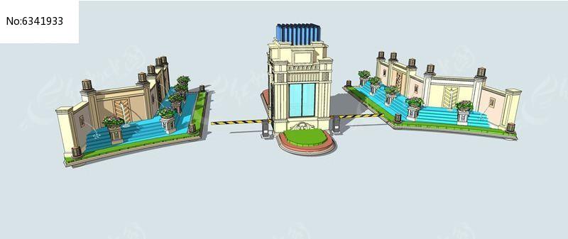 欧式水景花钵大门skp素材下载_围墙|栏杆|大门设计图片图片