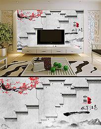 水墨江南中国风画背景墙壁画