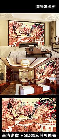中国风中式梅花水墨画山水画溪水电视背景墙