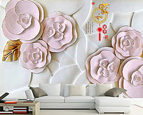 高清家和富贵电视沙发背景墙