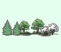 手绘风植物组景SU模型