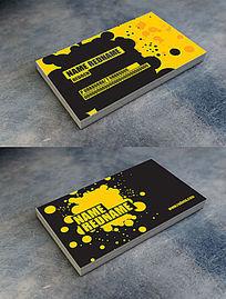 国外创意黑黄喷墨名片