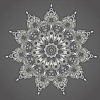 欧式花边图案装饰轮AI矢量图