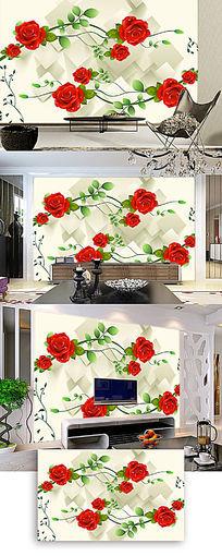 3D立体红玫瑰客厅电视背景墙图片