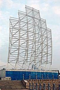 船帆结构金属雕塑小品 JPG