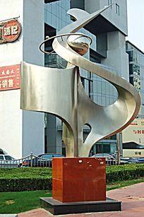 大厦入口标志雕塑小品 JPG